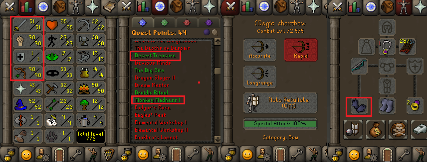 OSRS special pure account combat level 72 ID#20190607TD72