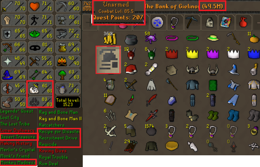 OSRS ironman account combat level 85 ID# 20190321SB85