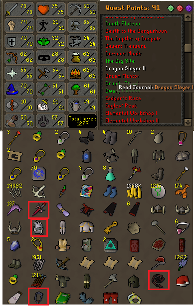 OSRS account combat level 92 ID# 20181204LW92
