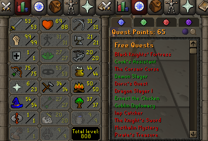 OSRS account special pure combat level 74 ID#20210129MM74
