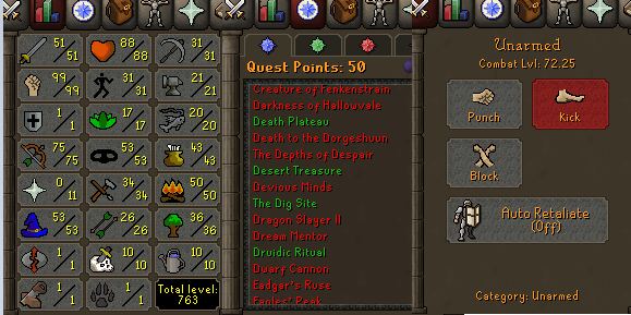 OSRS account special pure combat level 72 ID#20201108MM72B