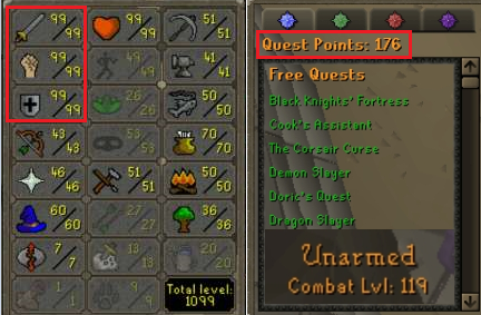 OSRS account combat level 119 ID#20190823TD119B