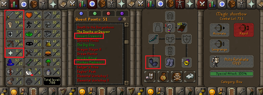 OSRS account special pure combat level 73 ID#20200118TD73