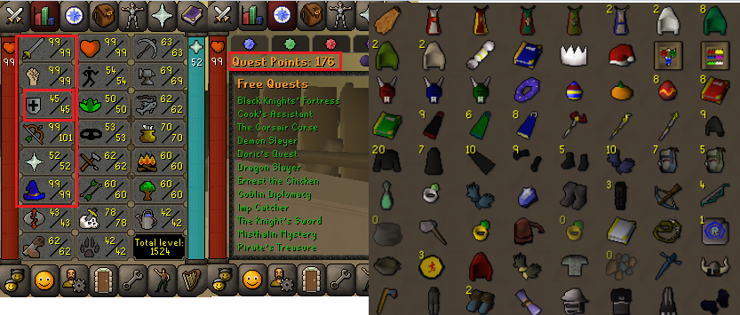 OSRS account combat level 106 ID#20201012LW106